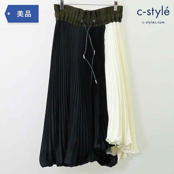 sacai サカイ バイカラー プリーツ スカート size1 アシンメトリー 異素材 切替 レディース