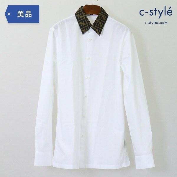 FENDI フェンディ FF コットンポプリン シャツ size38 ズッカ柄 プリント ジャガード 長袖