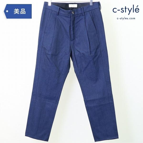 Jieda ジエダ 20AW テーパード タック パンツ size1 織柄 ブルー ウール コットン