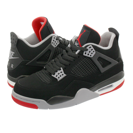 NIKE AIR JORDAN4(ナイキ エアジョーダン4) 4 RETRO BRED CHICAGO BULLS BLACK/CEMENT GREY/SUMMIT WHITE/FIRE RED