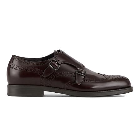 GIORGIO ARMANI(ジョルジオアルマーニ)靴 モンクシューズ ブラッシュドレザー製 パンチング
