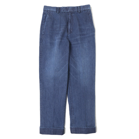Text(テキスト) Flat Front Straight Trousers Ozone Wash