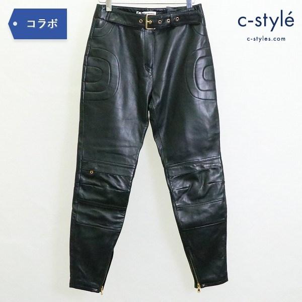 MOSCHINO × H&M レザー パンツ size34 ベルト付き バイカー ジェレミースコット レディース