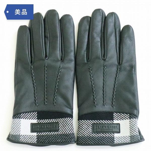 BLACK LABEL CRESTBRIDGE パーシャルクレストブリッジ チェック グローブ 羊革 カシミア 手袋