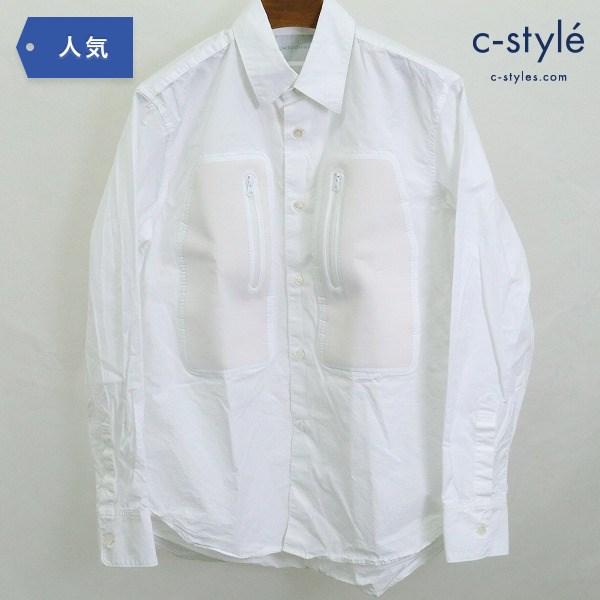 FUMITO GANRYU フミト ガンリュウ 異素材 ピックポケット 長袖 シャツ size3 Yシャツ ホワイト