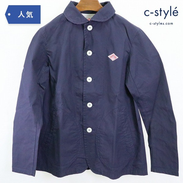 DANTON ダントン 丸襟 カバーオール ジャケット size38 コットン ネイビー ラウンドカラー