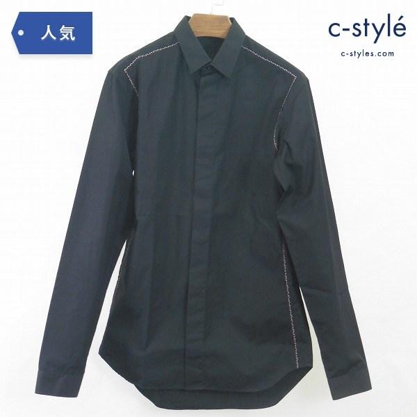 DIOR HOMME ディオール オム 刺繍 長袖 シャツ size37 コットン ブラック イタリア製