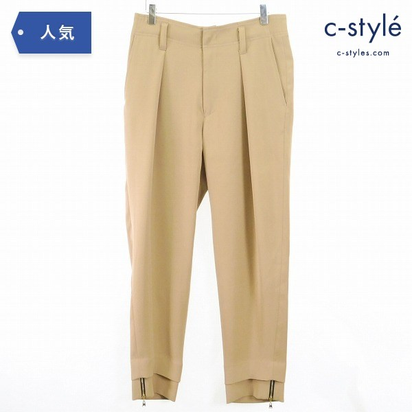 CULLNI クルニ 19SS ダブル サテン テーパード パンツ size1 ベージュ 日本製