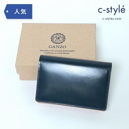 GANZO ガンゾ 名刺入れ カードケース THIN BRIDLE シンブライドル レザー 57819 WGAN ネイビー