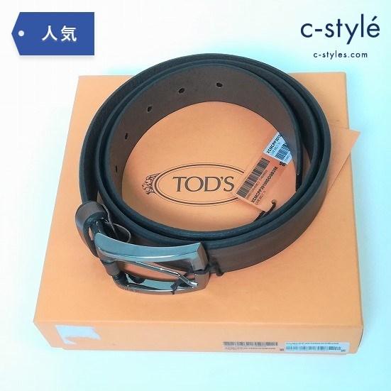 TOD'S トッズ LINE BELT 35 ライン ベルト ダークブラウン 茶色 イタリア製 サイズ95