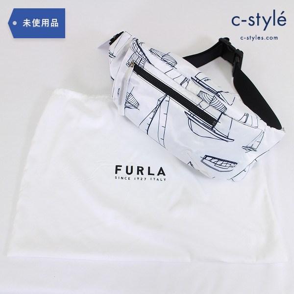 FURLA フルラ 20SS ベルトバッグ ボディ バッグ ウエストポーチ ナイロン 白 鞄