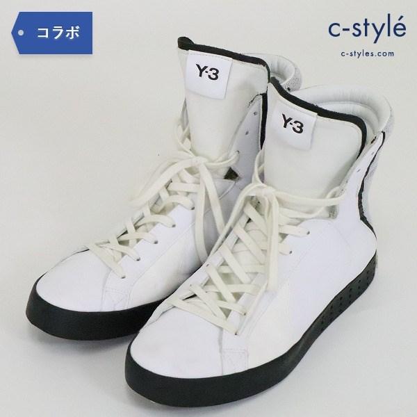 Y-3 Yohji yamamoto × adidas ハイカット メッシュ レザー ホワイト 異素材 ミックス 25.5cm