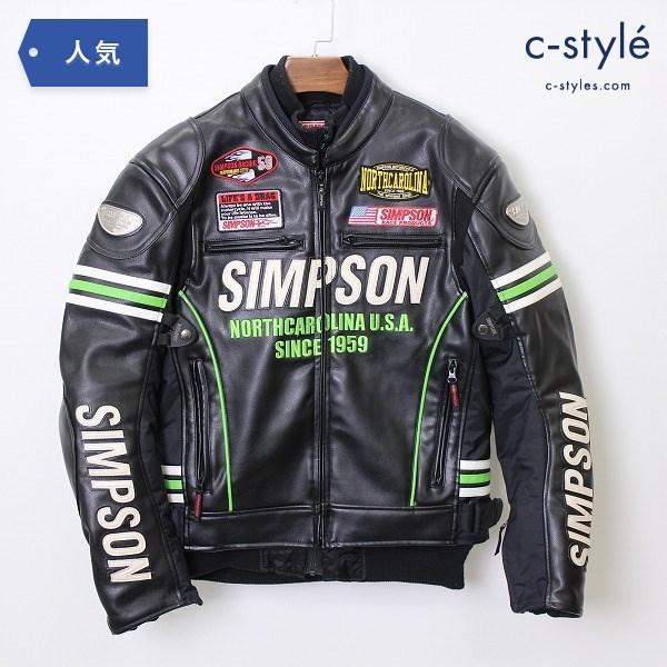 SIMPSON シンプソン 2WAY PU レザー ジャケット L 中綿インナー 着脱可 プロテクター入 バイク