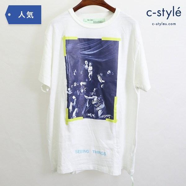 OFF-WHITE オフホワイト DIAG CARAVAGGIO Tシャツ M 半袖 プリント ホワイト カットソー