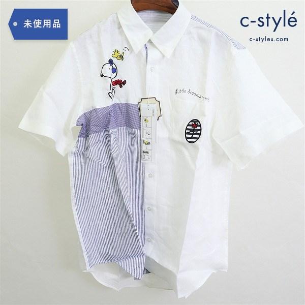 CASTELBAJAC × スヌーピー 半袖 シャツ size48 リネン ホワイト PEANUTS メンズ