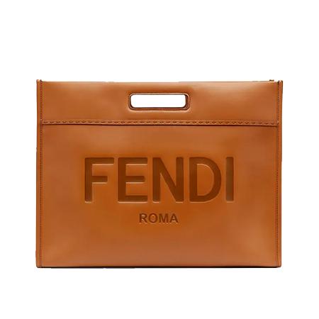 FENDI(フェンディ) バッグ ショッピングバッグ ブラウン レザーショッパー