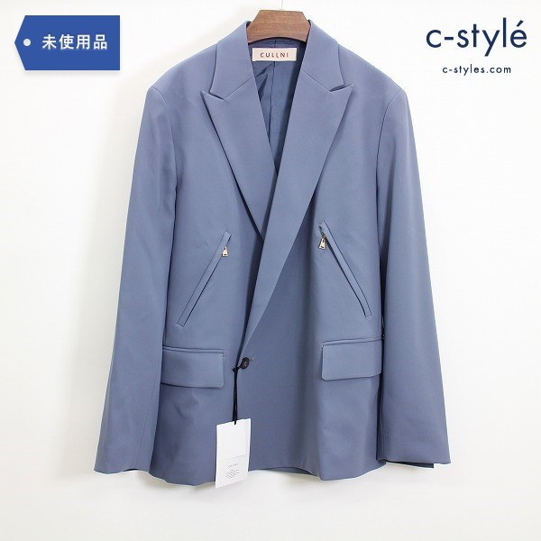 CULLNI クルニ 21SS ジップ ジャケット size 1 背抜き ストレッチ サテン ブルー