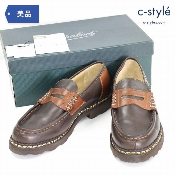 PARABOOT × CABANE de ZUCCA コインローファー size8.5 REIMS MARCHE LIS MARRON シューズ 靴