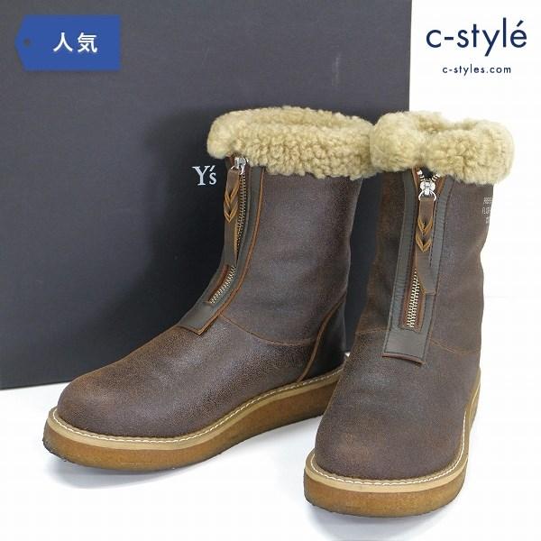 Y's ワイズ レザー フライト ブーツ size6 ムートン レディース ヨウジヤマモト