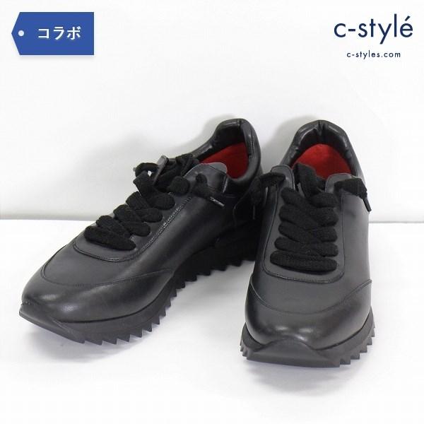 1PIU1UGUALE3 × 181 BLACK SHARK size41 レザー シャークソール イタリア製 靴 シューズ