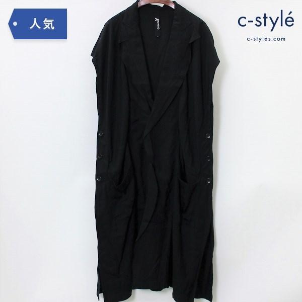 Ground Y グランドワイ ヨウジヤマモト テンセル ロング コート size3 ブラック ユニセックス