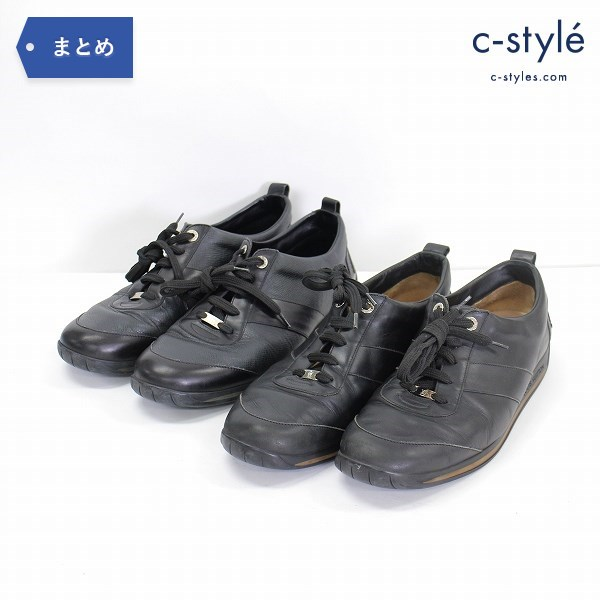 LOUIS VUITTON ルイヴィトン レザー スニーカー size9 2点 ブラック シューズ 靴 イタリア製