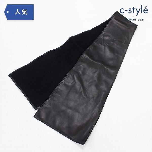 LOEWE ロエベ レザー ストール 羊革 ブラック ファッション小物 マフラー ネックウェア