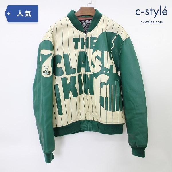 KADOYA カドヤ クラッシュキング レザー ジャケット size L グリーン ライダース ワッペン 牛革 バイクウェア