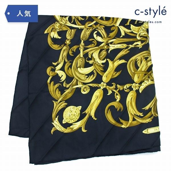 HERMES エルメス シルク100% スカーフ ブラック ゴールド 大判 絹 ファッション小物 フラワー