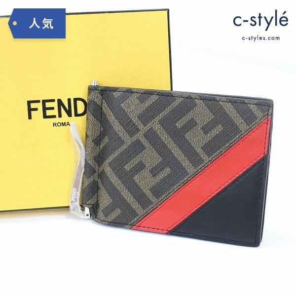 FENDI フェンディ マネークリップ 折り財布 カードケース ズッカ柄 FF レザー
