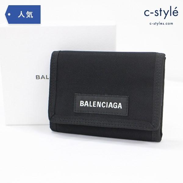 BALENCIAGA バレンシアガ 三つ折り財布 ナイロン ロゴ ブラック 箱・ギャランティカード付
