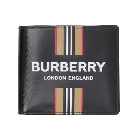 BURBERRY WALLET(バーバリー 財布) ロゴ&アイコンストライププリント インターナショナル バイフォールドウォレット