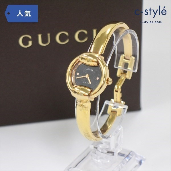 GUCCI グッチ 1400L バングル ウォッチ ゴールドカラー 腕時計 黒文字盤 アナログ 時計