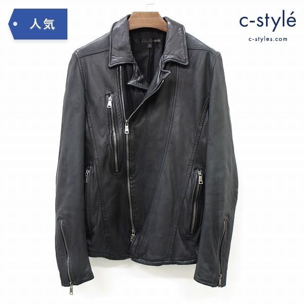 SCHLUSSEL シュリセル シングル レザー ジャケット size2 羊革 ブラック 革ジャン メンズ