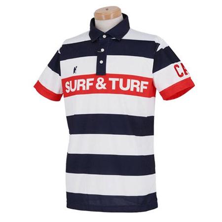 サーフアンドターフ(SURF&TURF) メンズ ボーダー柄 ラインロゴ 半袖 ポロシャツ 0SS-SBS6