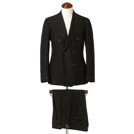Alfonso Sirica(アルフォンソ シリカ) ブラックリネン ダブルブレスト スーツ