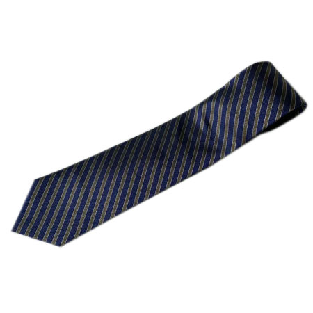 ANGELO FUSCO(アンジェロ・フスコ) ブルー×ライトブラウン×生成りストライプ織柄セッテピエゲネクタイ大剣幅8.5cm