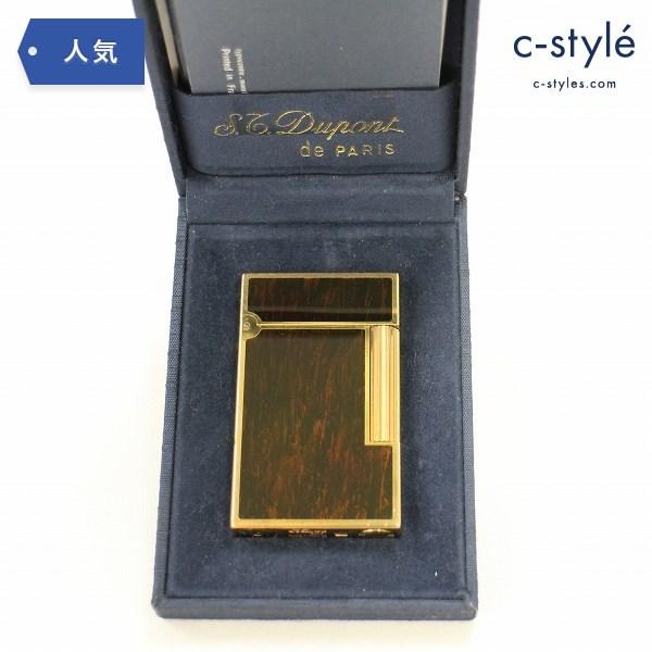 S.T.Dupont デュポン ガスライター 木目 ライン ブラウン×ゴールド 喫煙具