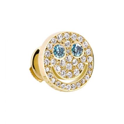 EYEFUNNY(アイファニー) ダイヤモンド スマイル S ブルーアイズ ピアス 18KYG