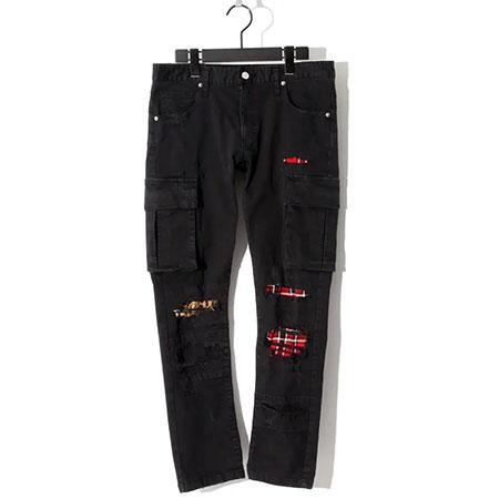 BLACK HONEY CHILI COOKIE(ブラックハニーチリクッキー) Patched Stretch Skinny Cargo Pants / BLACK 2905402