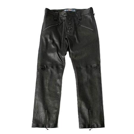 BLACKMEANS(ブラックミーンズ) ラムレザー CENTER SLIT PANTS