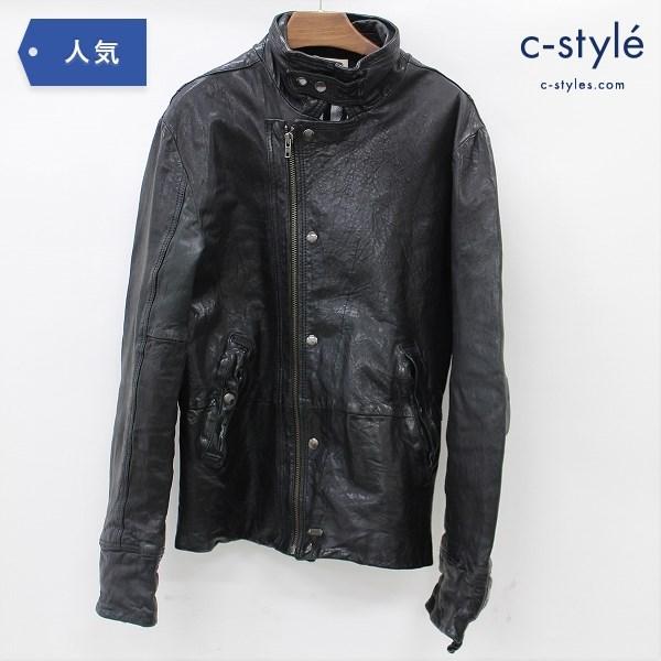 DIESEL ディーゼル レザー ジャケット M 羊革 ブラック ラムレザー コート