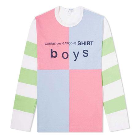 COMME des GARCONS SHIRT boys(コムデギャルソンシャツボーイズ) Long Sleeve Colour Block Logo Tee