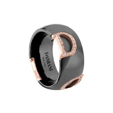 DAMIANI(ダミアーニ) ディーアイコン ピンクゴールド ブラックセラミック ダイヤモンド リング