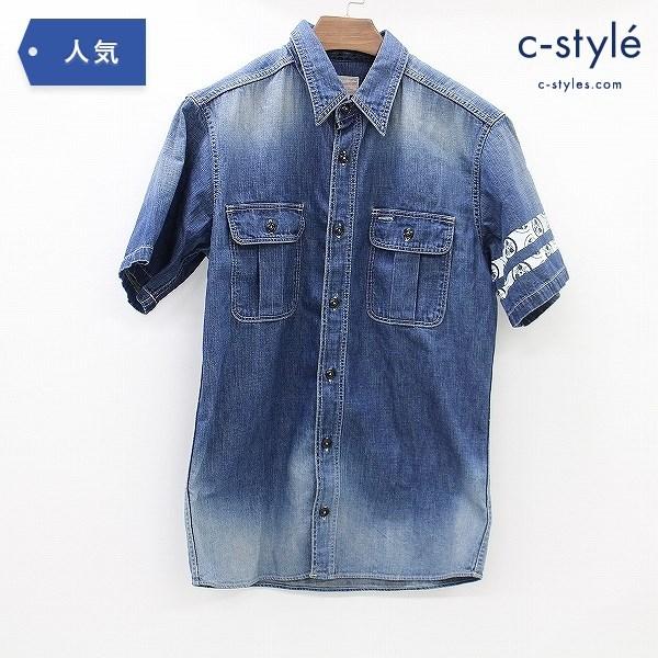 桃太郎ジーンズ MOMOTARO JEANS デニム シャツ size40 半袖 コットン 日本製
